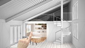 Hand pointing interior design project, home project detail, deciding on rooms furnishing or remodeling concept, open space mezzani royalty free stock images