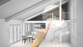 Hand pointing interior design project, home project detail, deciding on rooms furnishing or remodeling concept, open space mezzani stock photo