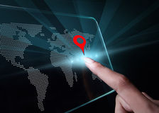 Hand pointing a map on transparent 3D smartphone. Hand pointing a map on transparent 3D smartphone with black background. A 3D phone is a mobile phone that Royalty Free Stock Image