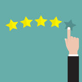 Hand pointing at one of five stars. Rating, evaluation, success, feedback, review, quality and management concept. Vector  Stock Photography