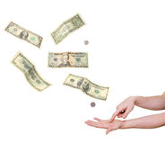Hand pointing in palm demanding money Royalty Free Stock Photos