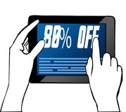 Hand pointing at 80 PERCENT OFF text on tablet. Illustration. Graphic concept Stock Image