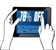 Hand pointing at 70 PERCENT OFF text on tablet. Illustration. Graphic concept Royalty Free Stock Image