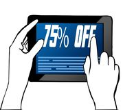 Hand pointing at 75 PERCENT OFF text on tablet. Illustration. Graphic concept vector illustration