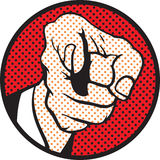 Hand pointing (pop art style). A Hand pointing to you. It is pop art style Royalty Free Stock Images