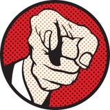 Hand pointing (pop art style) vector illustration