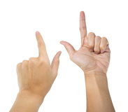 Hand pointing poses isolated Stock Photos