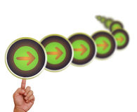Hand pointing on right arrow button Stock Photos