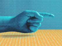 Hand Pointing Right Blue. Layered binary code over techno blue hand pointing to the right stock illustration