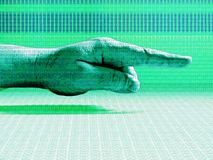 Hand Pointing Right Green. Layered binary code over techno green hand pointing to the right royalty free illustration