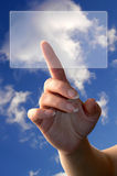 Hand pointing screen Royalty Free Stock Images