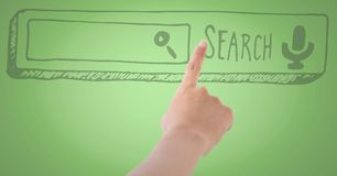 Hand pointing at search bar against green background Royalty Free Stock Image