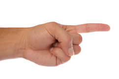Hand pointing showing direction Stock Photo