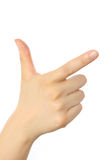 Hand of pointing sign Stock Images
