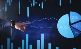 Hand pointing on stock market chart. Business growth, Investment royalty free stock photo