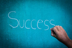 Hand pointing at success concept. On chalkboard Royalty Free Stock Photo