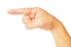 Hand pointing symbol isolated on white background. This image has attached release Stock Photo
