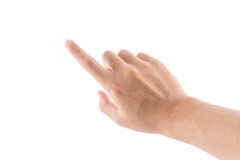 The hand with pointing symbol is touch. The isolated of the hand with pointing symbol is touch to screen on white background Royalty Free Stock Photography