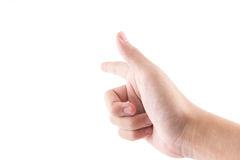The hand with pointing symbol is touch. The isolated of the hand with pointing symbol is touch to screen on white background Royalty Free Stock Image