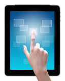 Hand is pointing on tablet pc Royalty Free Stock Photo