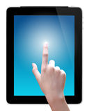 Hand is pointing on tablet pc Royalty Free Stock Image