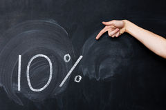 Hand pointing at ten percent drawn on blackboard Royalty Free Stock Images