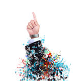 Hand pointing to above with fantasy color seem art and abstract Stock Photo