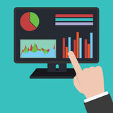 Hand pointing to  analytics information Royalty Free Stock Images