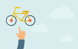 Hand pointing to a bicycle icon Royalty Free Stock Photography