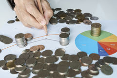 Hand pointing to chart and money coins stock photo