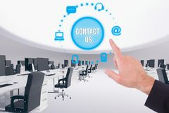 Hand pointing to contact us Royalty Free Stock Photos
