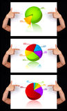 Hand pointing to dimensional chart collection Royalty Free Stock Photo