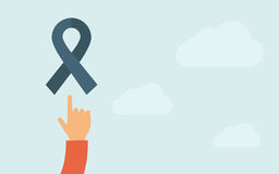 Hand pointing to a freedom ribbon icon Stock Photos