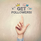 Hand pointing to Get Followers concept Royalty Free Stock Photos