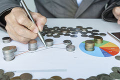 Hand pointing to graph and planning money investment Stock Images