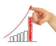 Hand pointing to the growing graph Royalty Free Stock Image