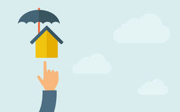 Hand pointing to a house umbrella icon Stock Image