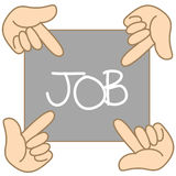 Hand pointing to job direction. Cartoon hand pointing to job direction Royalty Free Stock Images