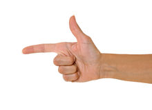 Hand pointing to left Stock Image