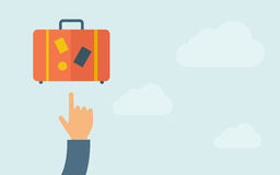 Hand pointing to  luggage Stock Image