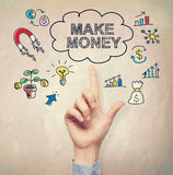 Hand pointing to Make Money concept Royalty Free Stock Image