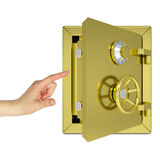 Hand pointing to the open gold safe Royalty Free Stock Photography