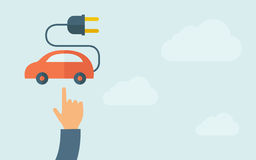 Hand pointing to rechargeable car icon Royalty Free Stock Images