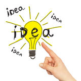 Hand pointing to the sketch bulbs Royalty Free Stock Images