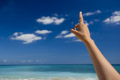 Hand pointing to the sky Royalty Free Stock Images