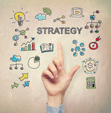 Hand pointing to Strategy concept Stock Photos