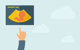 Hand pointing to a ultrasound  icon Stock Photography