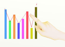 A Hand Pointing to Upward Graph. Showing The Results of successful Royalty Free Stock Images