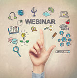 Hand pointing to Webinar concept Royalty Free Stock Images