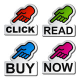 Hand pointing to the word stickers Royalty Free Stock Photos